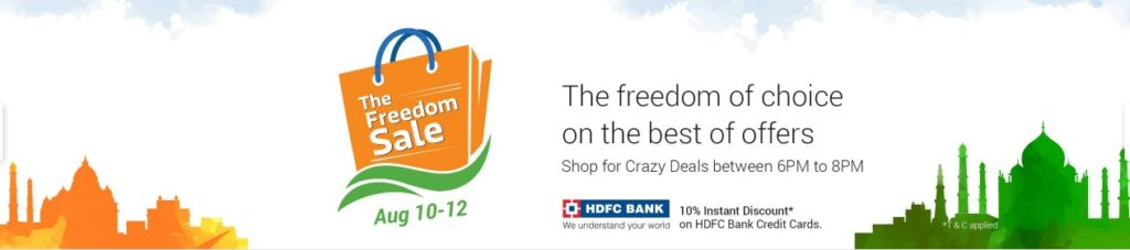 Flipkart The Freedom Sale August 10, 11 and 12